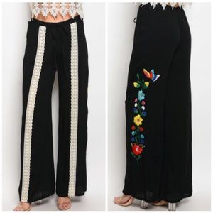 Pants - Black Wide Leg Floral Pants